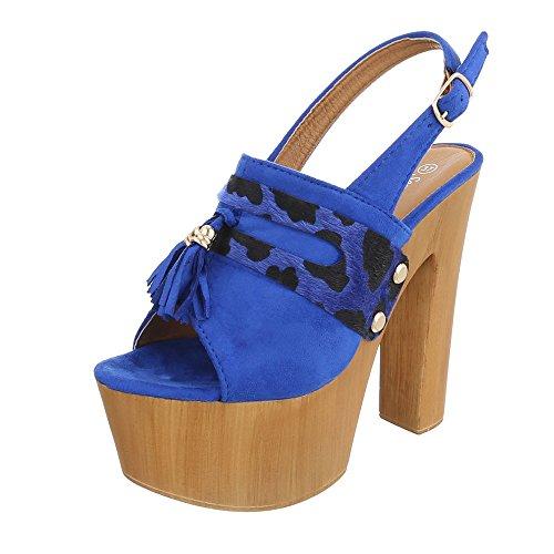 Ital-Design High Heel Sandaletten Damenschuhe Plateau Pump High Heels Schnalle Sandalen/Sandaletten Blau