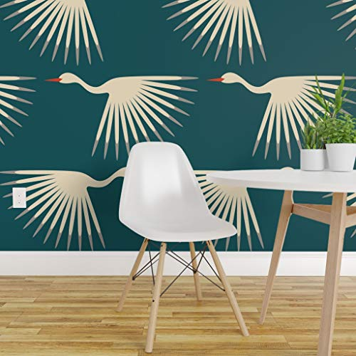 Spoonflower Peel and Stick Removable Wallpaper, Cranes 1920S Blue Birds Geometric Flying Crane Sunburst Art Deco Bird Fly Long Neck Wings Animal Print, Self-Adhesive Wallpaper 12in x 24in Test Swatch