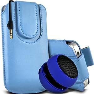 Motorola Moto T Protección Premium de cuero de la PU botón magnético ficha de extracción Slip In Pouch Pocket Cordón piel cubierta de la caja de liberación rápida y Mini recargable portátil de 3,5 mm Cápsula Viajes Bass Speaker Jack Baby Blue por Spyrox