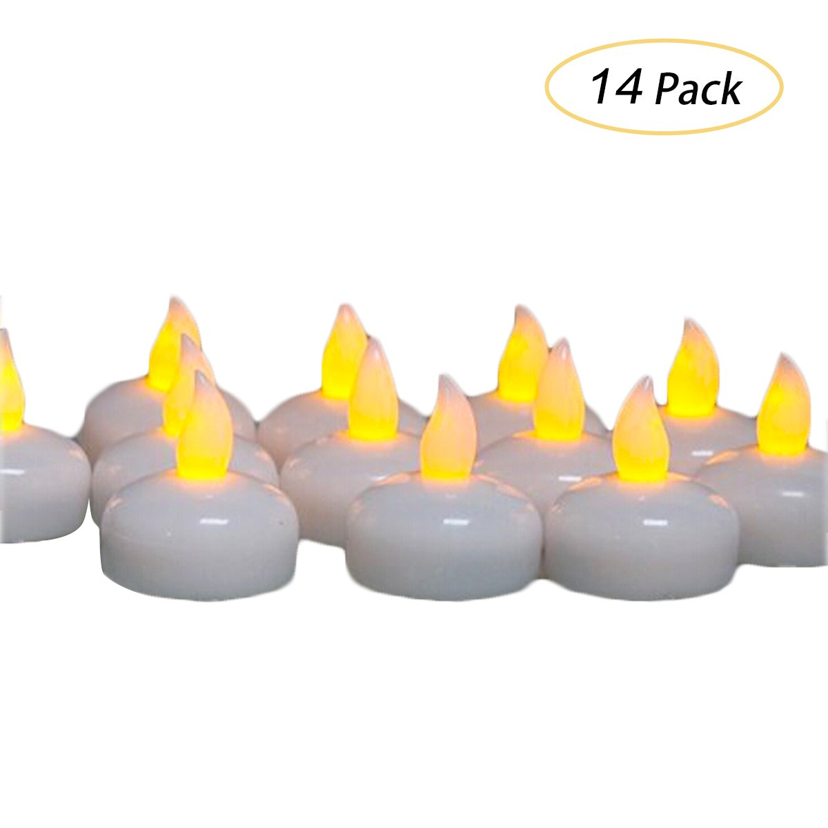 LED Floating Waterproof Flickering Tea light Candles by Glowseen- Water activated- Yellow-Pack of 14