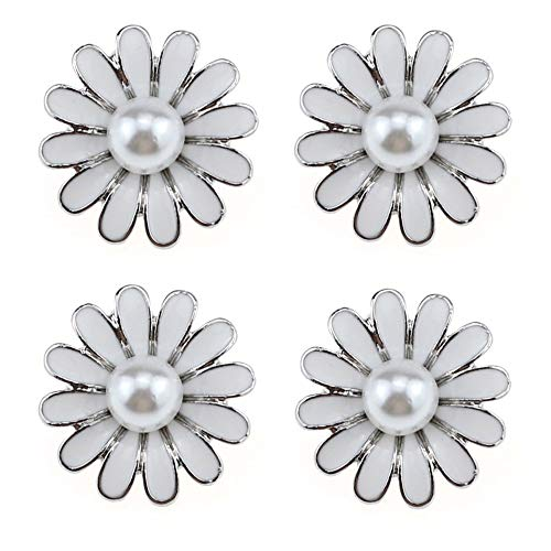 - SHINYTIME Pearl Rhinestone Buttons 4 Pieces Sew-On White Flower Pearl Beaded Floral Buttons for Bridal Clothing Decoration and DIY Crafts 0.9 inches