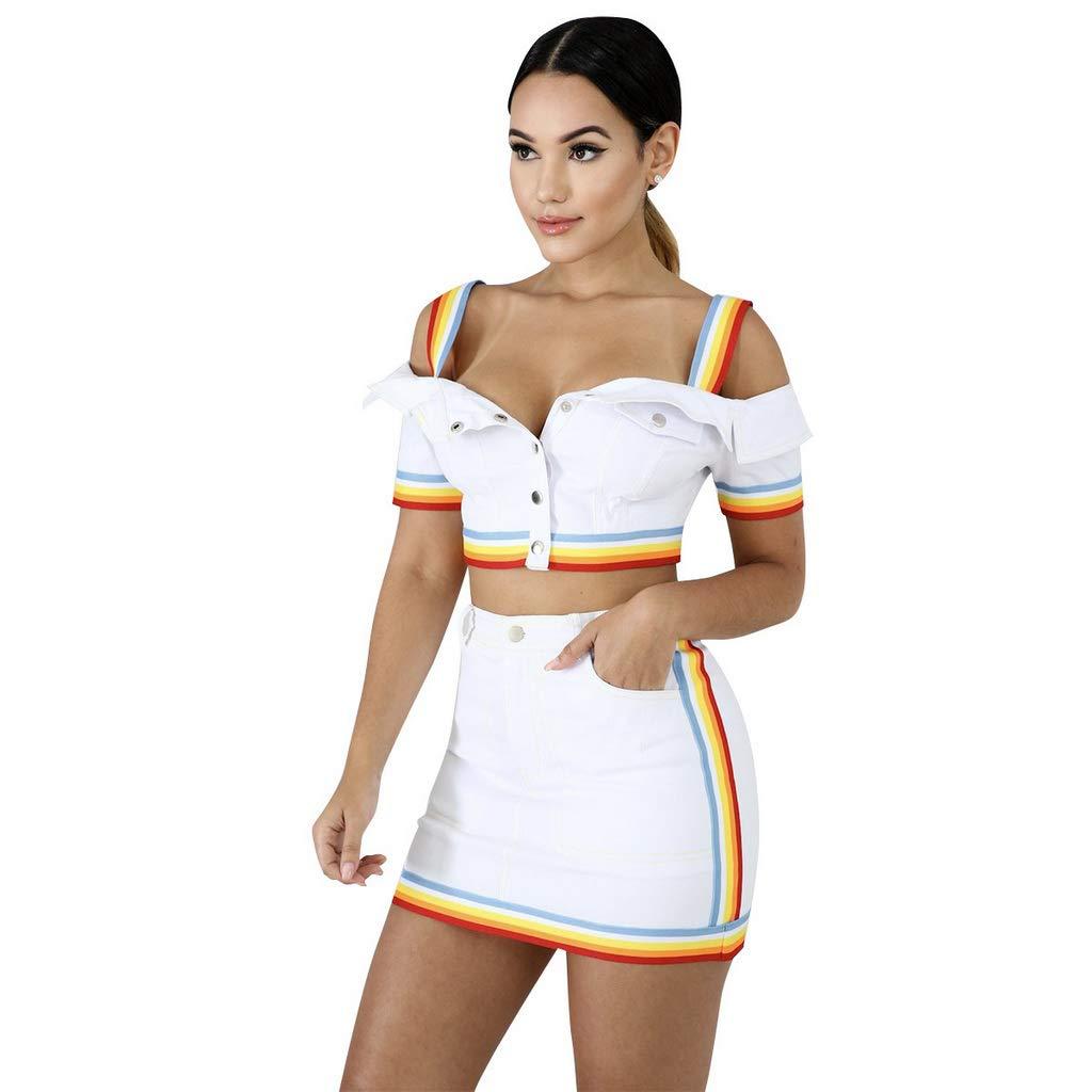 Soholulu Summer New Rainbow Splicing Women Tracksuit Denim Spaghetti Strap top Mini midi Skirt 2pcs Set Outfit(White,M)