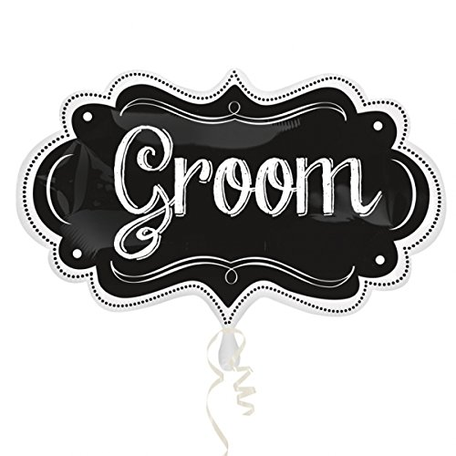 Amscan 3123901 11 x 34-inch Groom Chalkboard Marquee Super Shape Foil Balloons