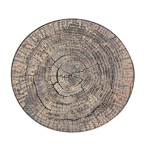 Pgojuni Fashion Design Wood Grain Rug Big Tree Rug Round Carpet Area Rugs Non-Skid Yoga Mat Living Room/Bedroom Carpet (F)