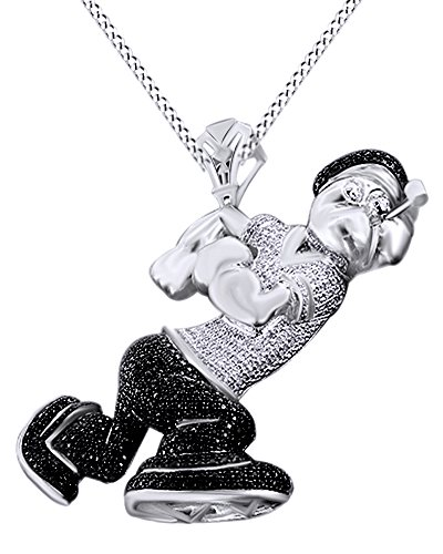 Round Cut Simulated Black & White Cubic Zirconia Popeye Hip Hop Pendant in 14k White Gold Over Sterling Silver (4.13 Cttw) by AFFY