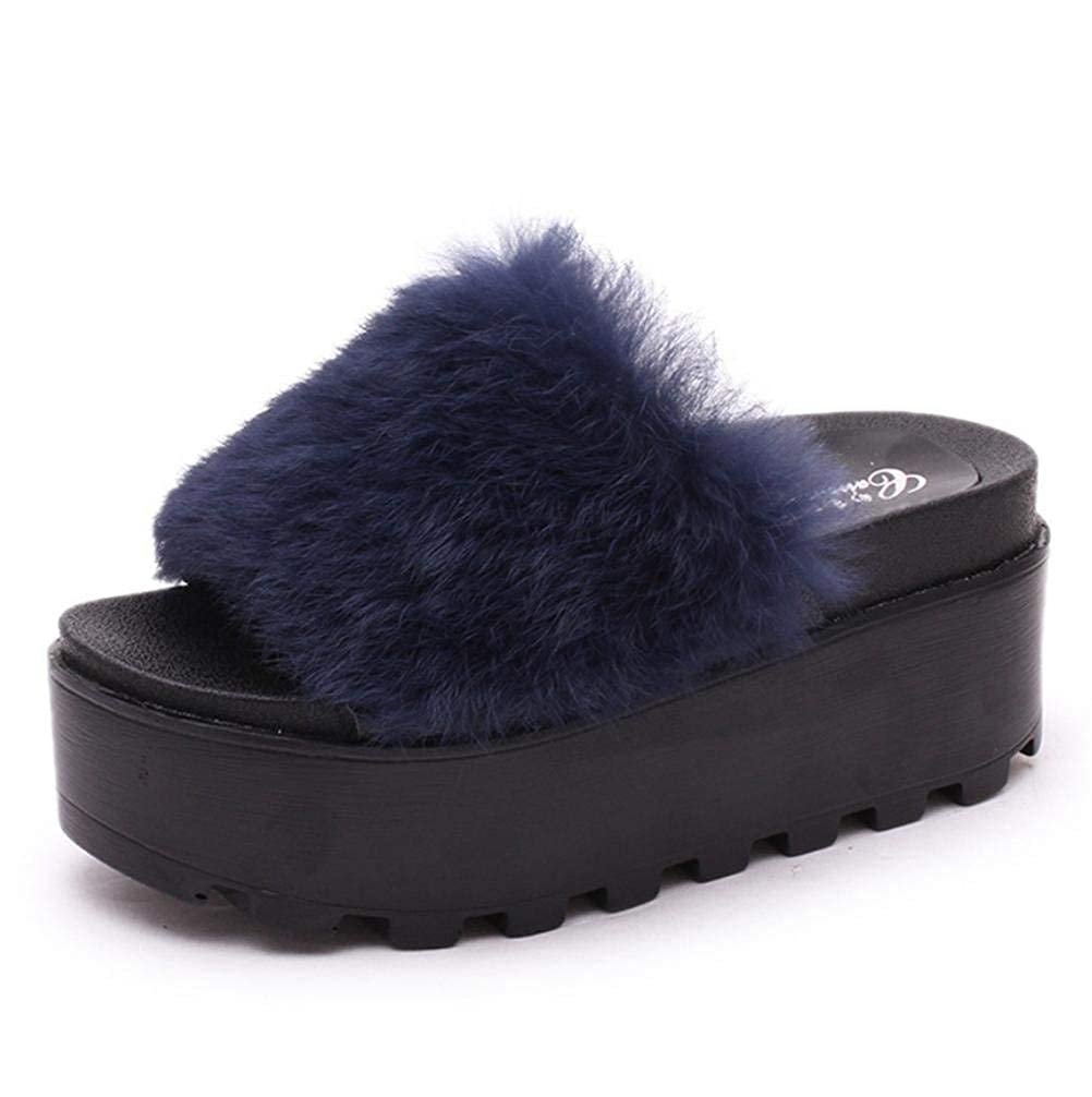 Ladies Casual Slipper Interior Non-Slip High Warm in Autumn and Winter Home Indoor and Outdoor Thick Bottom Slippers Size 36