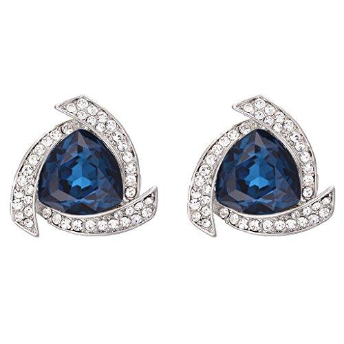 BriLove Women's Fashion Trendy Crystal Triangle Shaped Tornado Swirl Stud Earrings Blue Topaz Color Silver-Tone