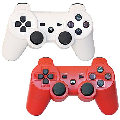 Pack de 2doble vibración Bluetooth inalámbrico PS3mandos a distancia para su uso con playstation 3(Rojo/Blanco)