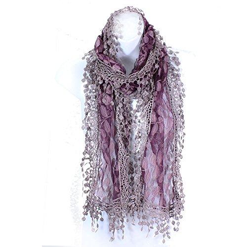 AN -Fashion Leafy Lace Scarf (Plum)