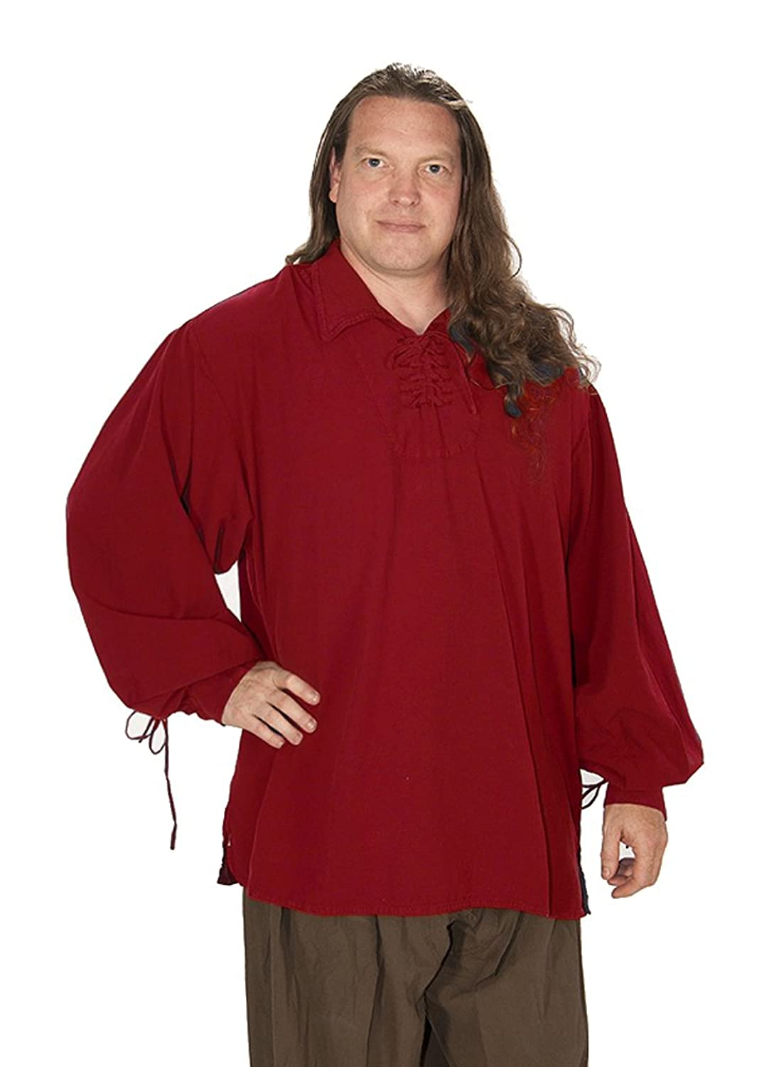 Men's Captain Morgan Red Heavy Cotton Fold Down Collar Pirate Shirt