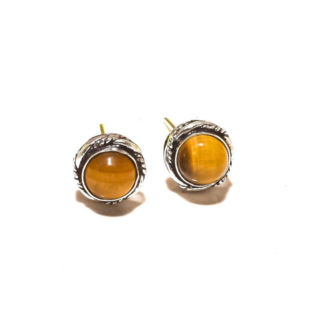 Brown Tiger Eye Sterling Silver Plated Stud// Earring 10 mm Handmade Jewelry Fabulous