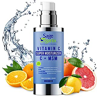 Sage Organix Collagen Boosting Vitamin C Moisturizer, 70% Organic Brightening Facial Moisturizer Ideal For Firming & Hydrating, Reducing Skin Discoloration, Age Spots & Wrinkles