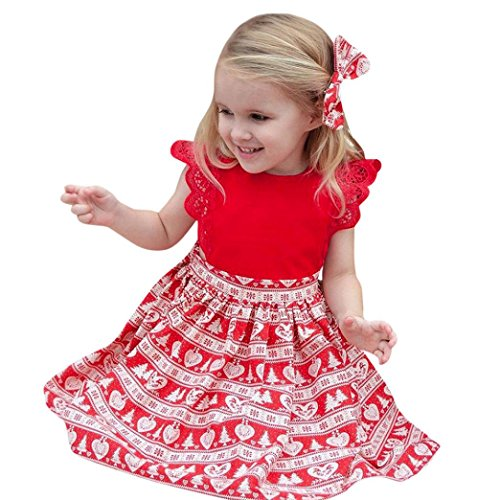 Elevin(TM)Christmas Toddler Kids Baby Girls Ruffle Print Lace Headband Dress Jumpsuit Outfit Clothes (B, 3T) Gabardine Zipper Jacket