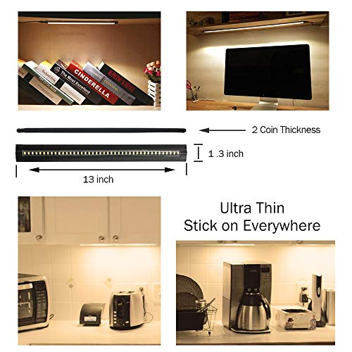 Ultra Thin LED Under Cabinet/Counter Kitchen Lighting Plug-In, Touch Dimmable 2 Coin Thickness LED Light with 42 LEDs, Easy Installation Warm White 12V/2A 5W/450LM CRI90, 3 Pack, All in One Kit by LEDLightsWorld (Image #1)