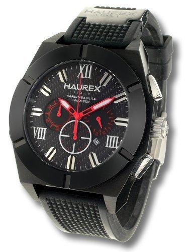 5697a32f80ce Haurex Italy Challenger Black Dial Watch  3N305UCN - Reloj de caballero de  cuarzo