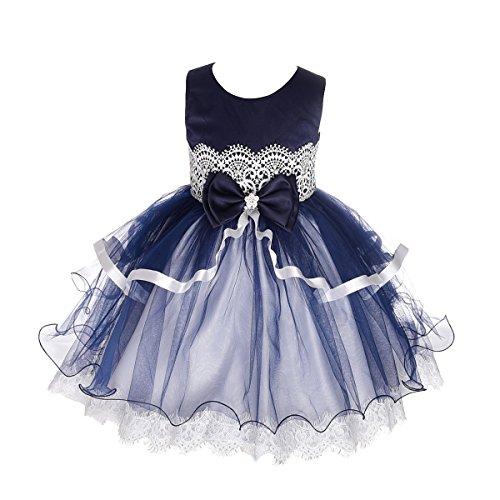 3 Tier Dress (Dressy Daisy Girls' Tiered Floral Lace Diamond Wedding Flower Girl Dresses Size 3/4T Dark Blue)