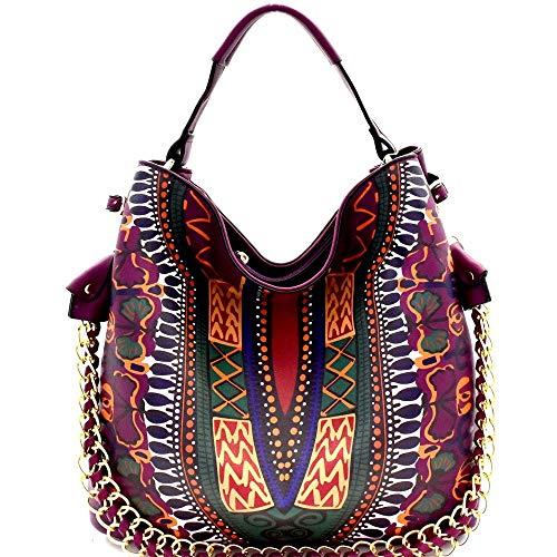 Dashiki Ethnic Print Chain Accent 2-Way Hobo Purse Bag
