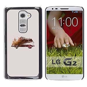 LASTONE PHONE CASE / Slim Protector Hard Shell Cover Case for LG G2 D800 D802 D802TA D803 VS980 LS980 / Bus Art Watercolor Painting