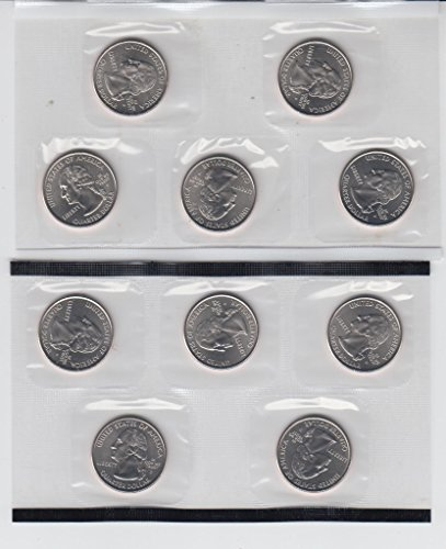 - 2005 P & D Washington (50 State) Quarters (10) Total Sealed in U.S. Mint Cello Choice Uncirculated