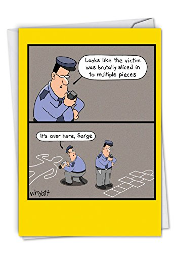 Chalk Outline - Policeman Happy Birthday Note Card with Envelope (4.63 x 6.75 Inch) - Funny Crime Scene Police, Bday Celebration Card for Men, Officers, FBI - Congratulations Notecard C6393BDG (Best Scenes From Cops)