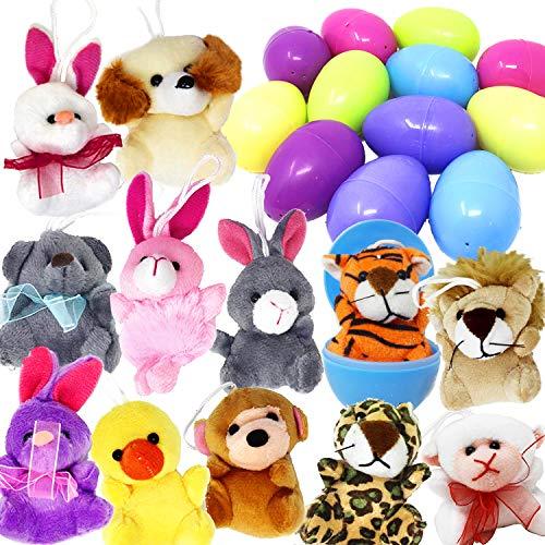 Easter Stuffed Stuffed Animal - JOYIN 12 Pack Prefilled Easter Eggs of Mini Stuffed Animal Plush Toys Easter Baster Stuffer for Kids Easter Egg Hunt Filler Stuffer