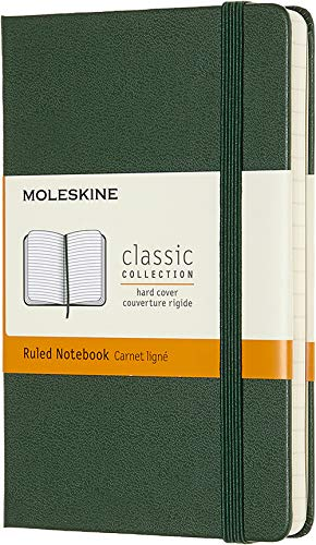 Moleskine Classic Notebook, Hard Cover, Pocket (3.5 x 5.5) Ruled/Lined, Myrtle Green