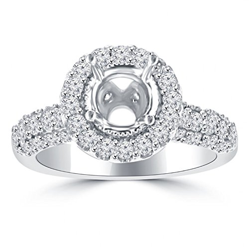 1.90 ct Ladies Round Cut Diamond Semi Mount Ring in Pave Setting in 14 kt White Gold In Size 6.5 - Pave Semi Mount Ring