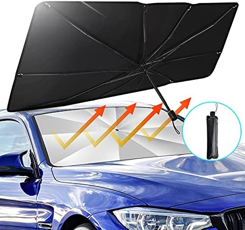 "BITIANTEAM Car Sun Shade for Windshield UV Rays Foldable Umbrella Heat Sun Visor Protector Foldable Reflector (55"" x 31"")"