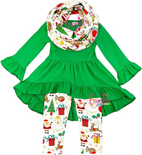 Boutique Clothing Girls Christmas Happy Holiday Green Top Scarf Set 12-18M/3XS by Angeline