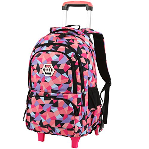 VBG VBIGER Girls Rolling Backpack Wheeled Backpack Trolley School Bag Travel Luggage