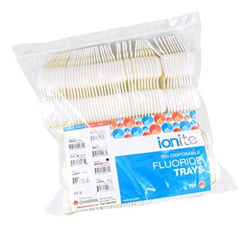 Ionite 56-00195 Dual Arch Fluoride Treatment Tray, Medium, White (Pack of 100)