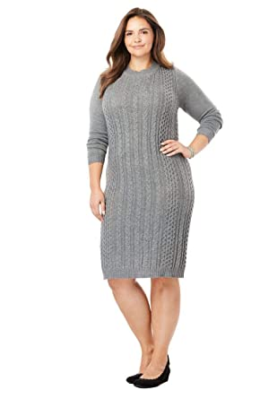 7efcf6a9b4 Woman Within Plus Size Cableknit Sweater Dress at Amazon Women s ...