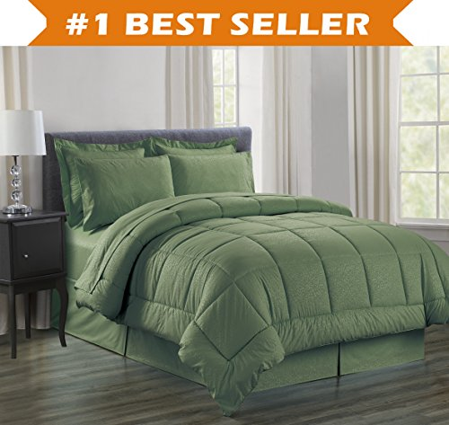 Luxury Bed-in-a-Bag Comforter Set on Amazon! Elegant Comfort Wrinkle Resistant - Silky Soft Beautiful Design Complete Bed-in-a-Bag 8-Piece Comforter Set -HypoAllergenic- King Sage (Elegant Comforter Sets King)