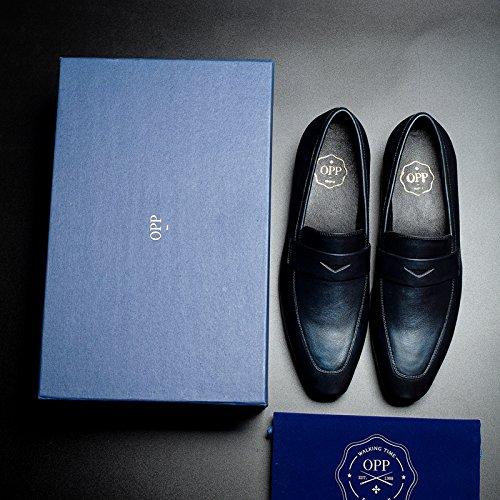 OPP Men Burnished leather Dress Shoes Pointed Toe Formal Shoes Designer Blue Z7k3P