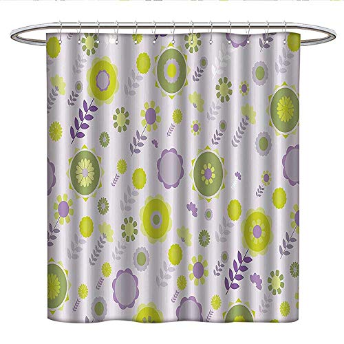 Floralcloth Shower curtainFunky Flowers Pattern Nature Essence Beauty Blossoms Spring ImageCurved Shower Curtain rodLilac Apple and Olive Green ()