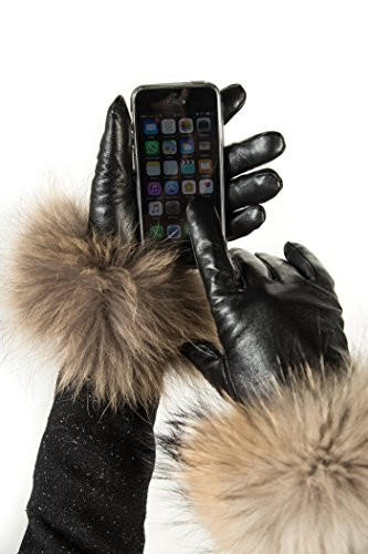 Marino Womens Warm Fashion Leather Touch Screen Gloves, Extreme Cold Weather Waterproof Gloves with Insulation Liner and Rabbit Fur Cuffs - Black - Medium - With Touch Screen