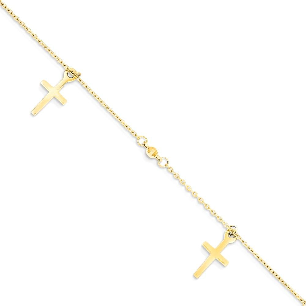ICE CARATS 14k Yellow Gold Textured Cross Religious 1 Inch Adjustable Chain Plus Size Extender Anklet Ankle Beach Bracelet Fine Jewelry Gift Set For Women Heart