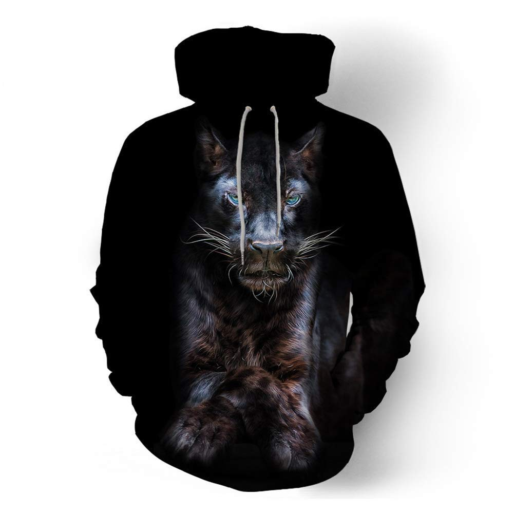 FuweiEncore Männer Trainingsanzug, 3D Print Hoodies Männer Casual Sweatshirt Trainingsanzug Pullover Tier Hoodie Herbst (Farbe   Schwarz, Größe   L) (Farbe   Schwarz, Größe   M)