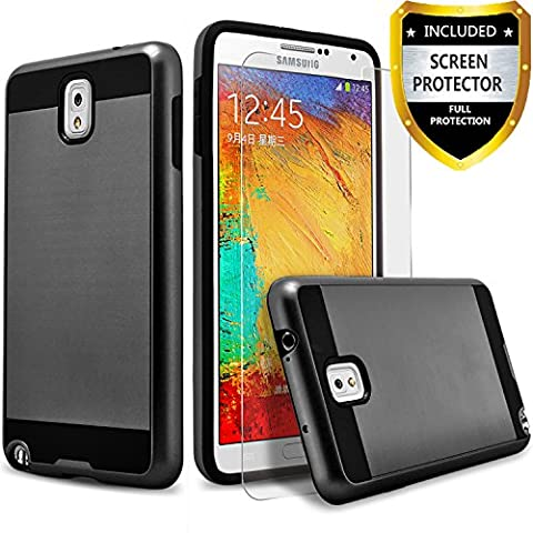 Galaxy note 3 Case, 2-Piece Style Hybrid Shockproof Hard Case Cover + Circle(TM) Stylus Touch Screen Pen And Screen Protector (Galaxy Note 3 Phone Case Black)