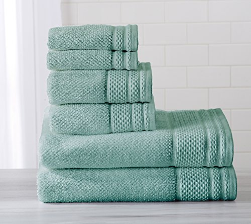 6-Piece Luxury Hotel / Spa 100% Turkish Cotton Towel Set, 600 GSM. Includes Bath Towels, Hand Towels and Washcloths. Helena Collection By Great Bay Home Brand. (Aquifer) (Cotton Towels Turkish)