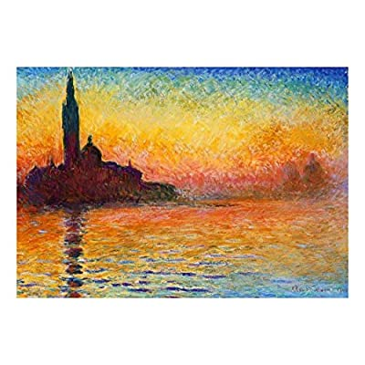 San Giorgio Maggiore at Dusk by Claude Monet - French Impressionism - Plein Air Landscape - Peel and Stick Large Wall Mural, Removable Wallpaper, Home Decor - 100x144 inches