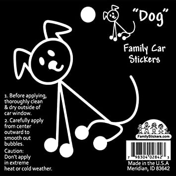 Family Car Stickers 3 inches tall Vinyl Auto Decal, Dog