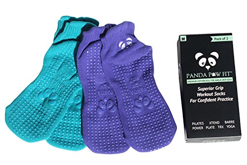 Yoga Pilates Barre Non-Slip No Skid Socks With Grips for Class Home [2 Pack Seascape/Turquoise]