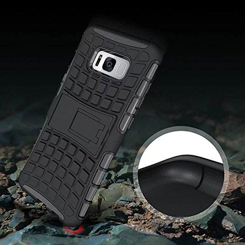 YHUISEN Samsung S8 Plus funda, patrón de neumático de doble capa armadura amortiguación de la caja de protección con Kickstand para Samsung Galaxy S8 Plus ( Color : Blue ) Green