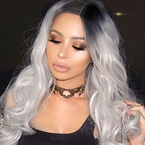 ForQueens Ombre Wig Silver Gray Long Wavy Wigs for Women Side Part Body Wave wig Long Heat Resistant Synthetic Full Curly Cosplay Wigs with Free Wig -