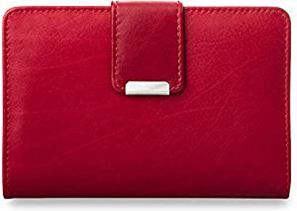 Práctica cartera monedero en cuero, para dama (rojo)