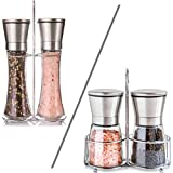 Stainless Steel Salt and Pepper Grinder Set with Matching Stand - Salt & Pepper Mill Pair with Adjustable Coarseness and Glass Body - Brushed Stainless Steel Salt and Pepper Shakers