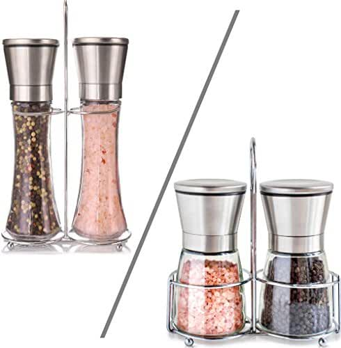 Salt and Pepper Shakers with Matching Stand - Salt Grinder and Pepper Mill Set with Adjustable Coarseness