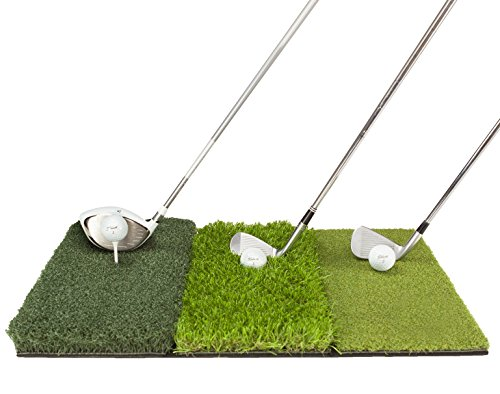 Premium Golf Hitting Mat | Tee Box, Rough & Fairway | Indoor/Outdoor Golf Practice Mat | Tri Turf Golf Driving Mat for Backyard Practice | Enhance Accuracy & Range | Top Gifting Idea