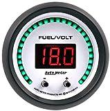 AutoMeter 6709-PH Phantom Elite Digital Fuel Level/Voltage Gauge 2-1/16 in. White Dial Face Black Bezel Red LED Lighting Programmable 0-280 Ohms 8-18V Phantom Elite Digital Fuel Level/Voltage Gauge